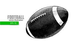 橄榄球球的剪影 免版税库存照片