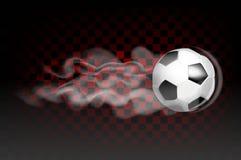 橄榄球球飞行在透明背景留下烟雾的痕迹 免版税库存图片