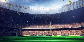 橄榄球竞技场体育场天冠军胜利 蓝色定调子 库存图片