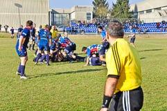 橄榄球符合Cus托里诺与橄榄球Paese 免版税库存照片