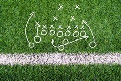 橄榄球计划图在足球场草的手文字 免版税库存照片