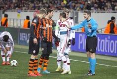 橄榄球赛Shakhtar顿涅茨克对拜仁慕尼黑 库存图片