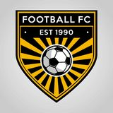 橄榄球足球徽章商标模板设计,足球队员,传染媒介 体育,象 库存例证