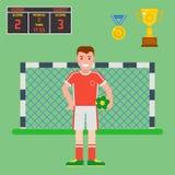 橄榄球足球象球员战利品竞争比赛比分胜利戏剧平的设计体育传染媒介例证 库存照片
