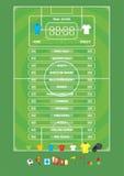 橄榄球足球赛的信息图表,象,比赛元素,记分牌 免版税库存照片