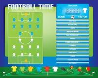 橄榄球足球赛的信息图表,象,比赛元素,记分牌 免版税库存图片