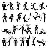 橄榄球足球运动员足球运动员行动姿势Cliparts 免版税库存图片