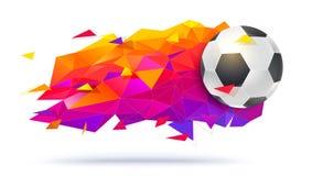 橄榄球队或比赛的,冠军足球商标 与球和三角的创造性的低多时髦背景 免版税库存图片