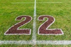橄榄球领域二十二个米标号 免版税库存照片