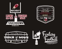 橄榄球领域和目标合作徽章,体育 库存照片