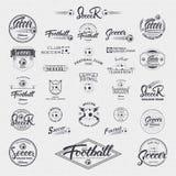 橄榄球,足球手字法证章标签可以为设计,介绍,小册子,飞行物,运动器材使用 免版税图库摄影