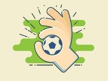 橄榄球/足球在手中在风格化绿色领域 库存例证