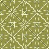橄榄绿和白色几何印刷品 无缝的模式 库存照片