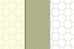 橄榄绿和白色几何装饰品 仿造无缝的集 免版税图库摄影