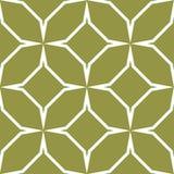 橄榄绿和白色几何装饰品 无缝的模式 免版税库存照片