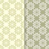 橄榄绿花卉设计 仿造无缝的集 库存照片