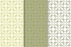 橄榄绿花卉设计 仿造无缝的集 免版税图库摄影
