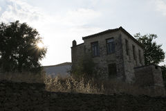 橄榄色的农厂房子卡拉迈,希腊 库存照片