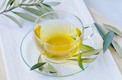 橄榄色的叶子清凉茶 饮食补充条款 库存照片
