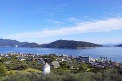 橄榄色的庭院在Shodoshima海岛,四国,日本 库存图片