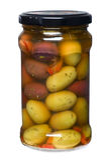 橄榄色罐 免版税库存图片