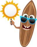水橇板与太阳横幅的字符系列2 - 免版税库存照片