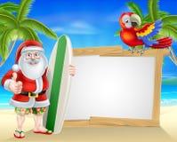 水橇板圣诞老人热带海滩标志 免版税库存图片