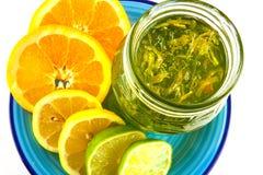橘子果酱和柑桔切片 免版税库存照片