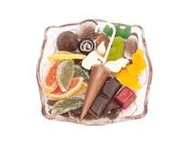 橘子果酱当柠檬切片用糖和巧克力 免版税库存照片