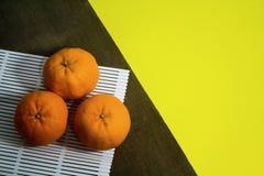 橘子顶视图  免版税库存图片