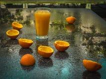 橙汁和橙皮在雨以后 库存图片