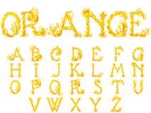 橙汁飞溅字体 皇族释放例证