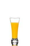 橙汁玻璃,在白色背景 免版税库存照片