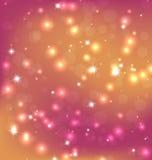 橙红摘要与明亮的星、Bokeh和雪花的圣诞节背景的例证 库存例证
