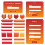 橙红模板万维网 库存照片