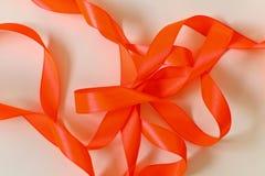 橙色丝带 免版税库存照片