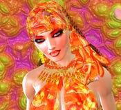 橙色丝绸顶头围巾 免版税库存照片