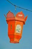 橙色中文报纸灯笼 库存照片