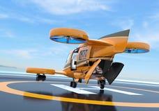 橙色乘客寄生虫出租汽车背面图在停机坪的 后方被打开的舱口盖和边门 皇族释放例证