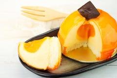 橙色乳酪蛋糕 免版税库存照片