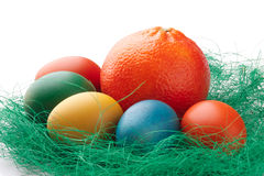 橙色五颜六色的复活节彩蛋 库存照片