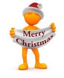 橙色人:拿着圣诞快乐标志 免版税库存图片