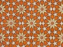 橙色伊斯兰蔓藤花纹模式 免版税库存照片