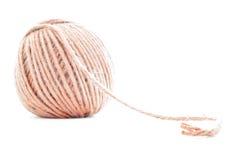 橙色传统线团,钩针编织在白色背景隔绝的毛线卷 免版税库存图片
