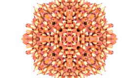 橙色低多几何抽象背景作为一个运动的彩色玻璃或万花筒作用在4k 圈3d动画 股票录像