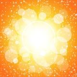 橙色光亮的圈子和黄色抽象背景 图库摄影