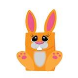 橙色兔子 包装礼物的 图库摄影
