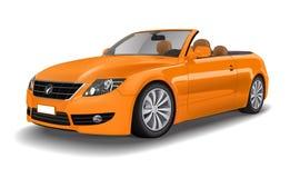 橙色典雅的敞篷车汽车概念 免版税库存图片