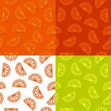 橙色切片低多无缝的样式 4颜色变异 免版税库存照片