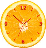 橙色切片时钟 图库摄影
